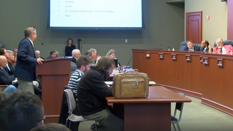 Horry County Administrator Chris Eldridge in front of councilmembers during March 5 special...