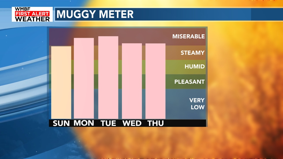We are getting into the miserable category for the new work week with PLENTY of humidity.