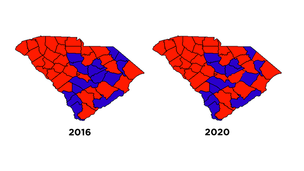 Comparing SC counties from 2016 to 2020