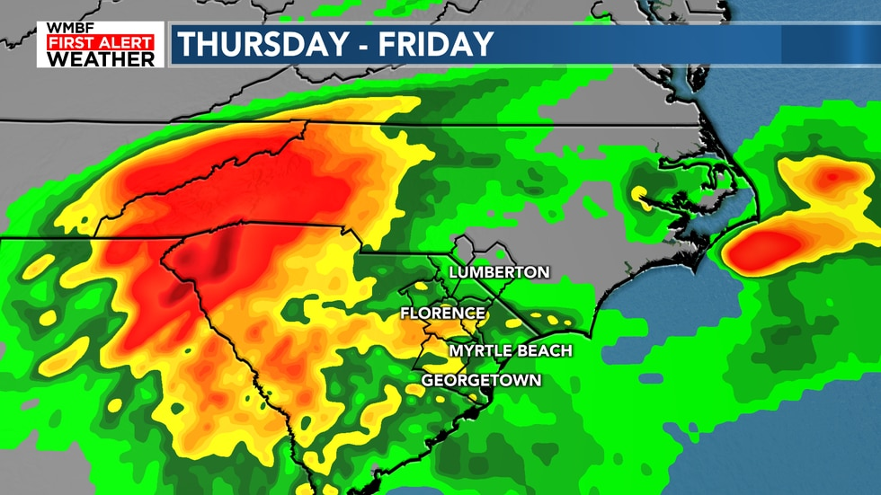 Remnants of Sally will bring heavy rain to the Carolinas for Thursday and Friday.