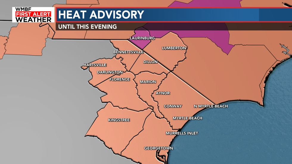 The heat advisory goes through the afternoon as heat index values will reach 105-110°.