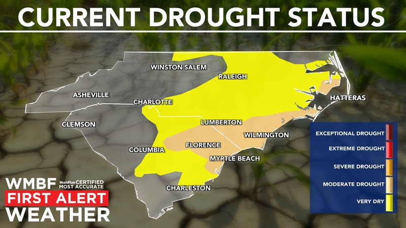 The latest update continues the moderate drought for the Carolinas.