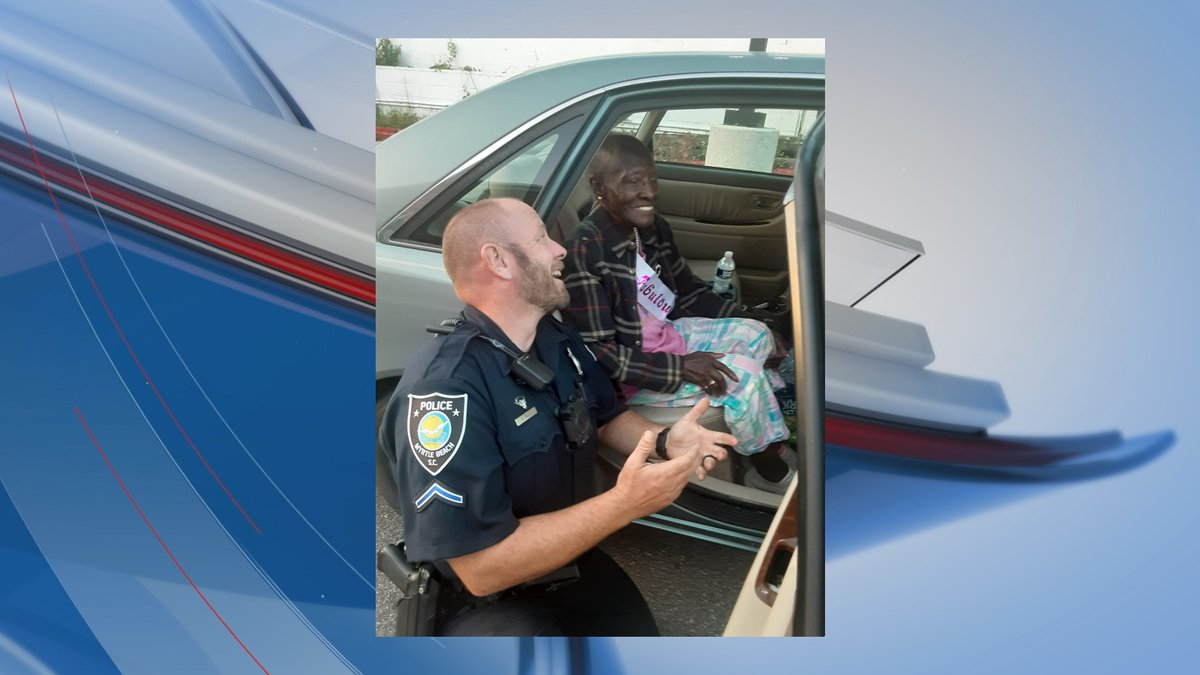 A sweet moment between a Myrtle Beach officer and a woman celebrating her 90th birthday was...