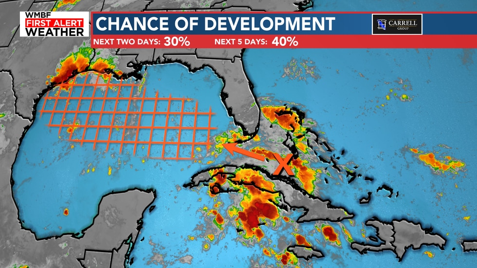 The first system poses a medium chance of development at 40% over the next five days.