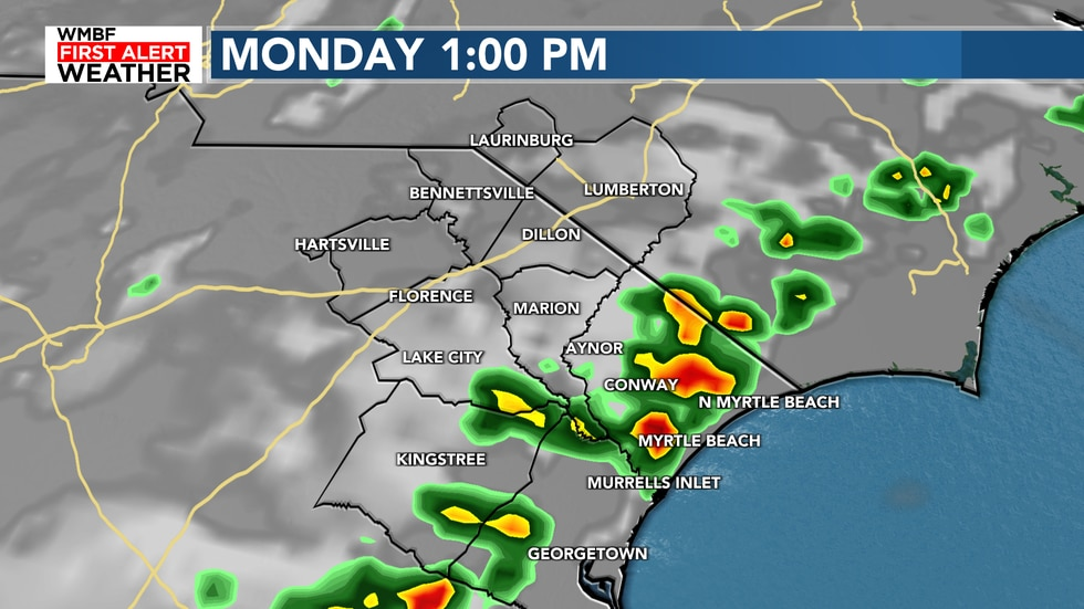 Scattered showers & storms will be in the forecast today at 30%.