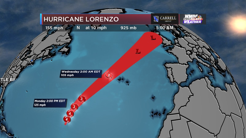 The forecast track takes Lorenzo to the north/northwest before weakening by the end of the week.