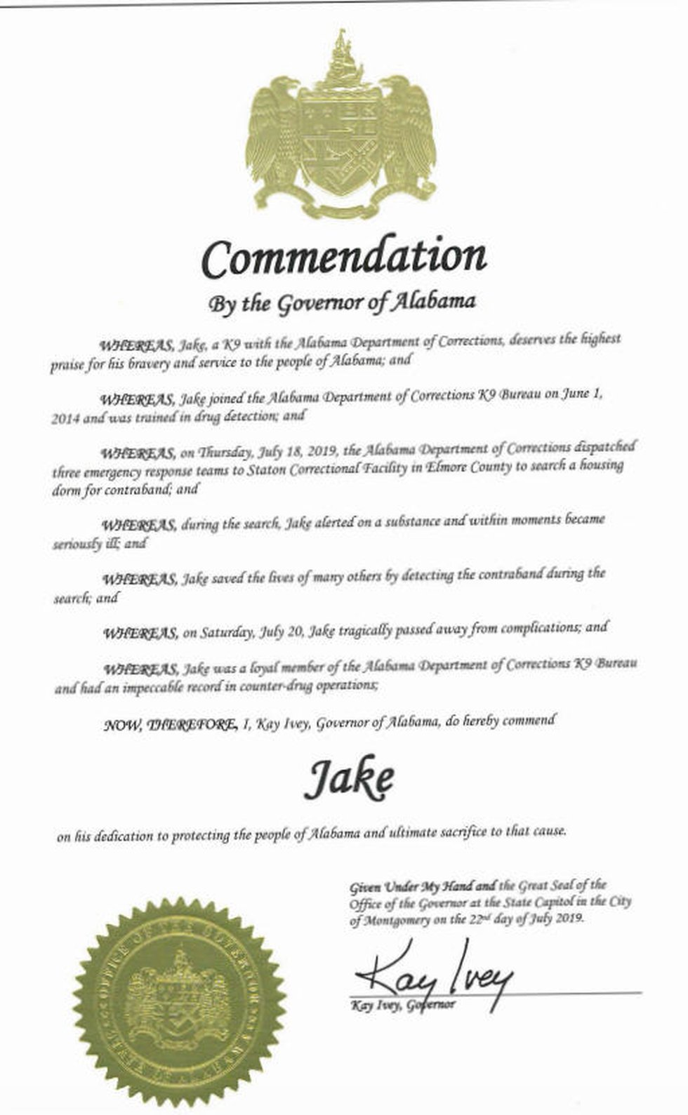 """Gov. Kay Ivey issued a commendation recognizing the efforts of ADOC K9 Officer """"Jake"""", who died..."""
