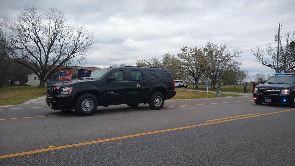 The presidential motorcade drives through Lee County, Alabama as President Donald Trump arrives...