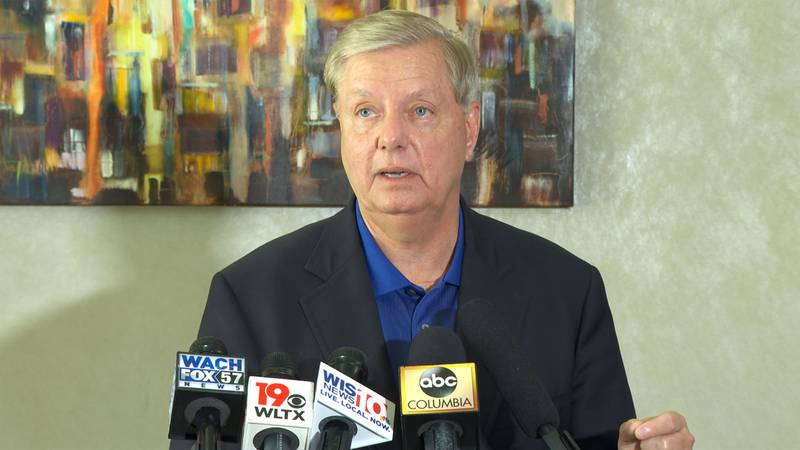 Sen. Lindsey Graham speaks to the media following a meeting with the South Carolina Hospital...