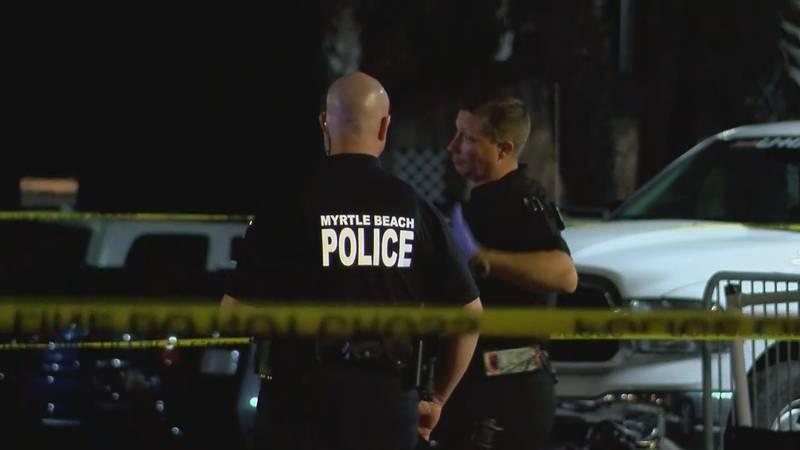 Police officers work a scene in Myrtle Beach