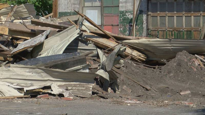 Remainder of building that collapsed in Downtown Conway is demolished.