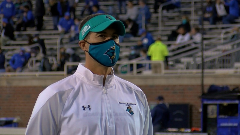 CCU head coach Jamey Chadwell prior to the Chants' matchup against BYU on Dec. 5.