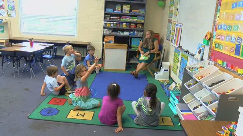 A teacher and students at Lowcountry Preparatory School in class during its Summer Bridge...
