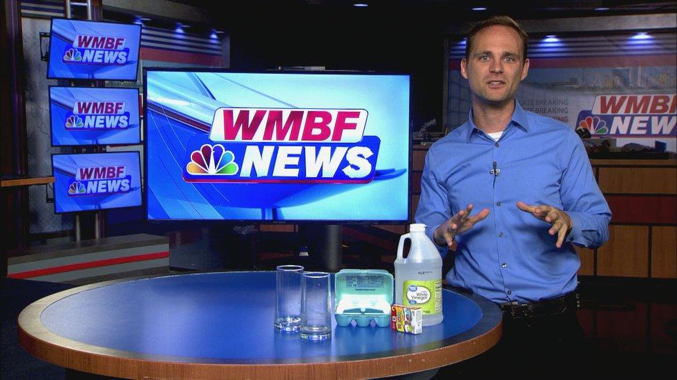 Vinegar, Glasses, Eggs and Food Coloring