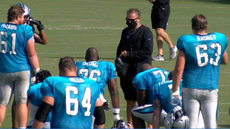 Carolina Panthers coach Matt Rhule talking to his offensive line on the first day of full pads.