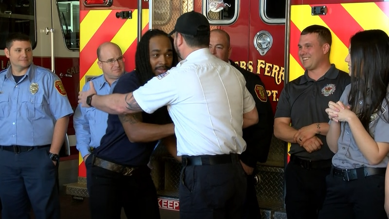 Salisbury firefighters rescued him from the dirt bank he was laying in after he fell 75 feet....
