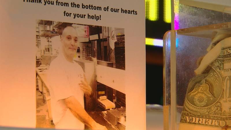 The jar that has raised $800 for Carlos Rivera.
