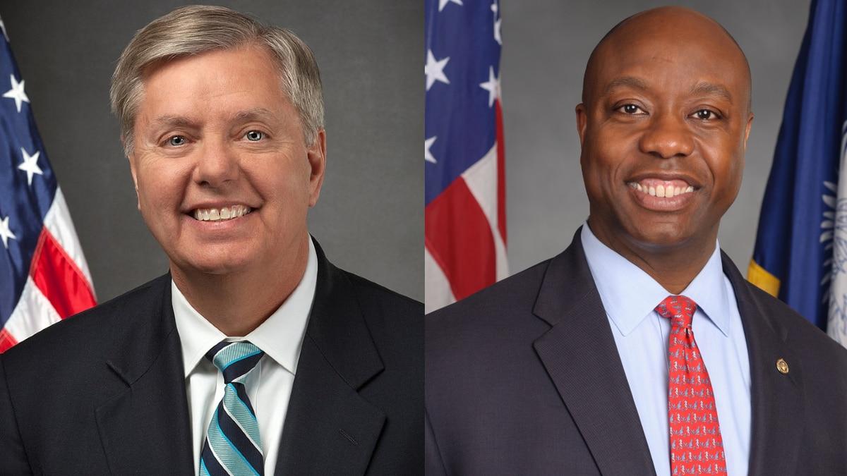 South Carolina senators Lindsey Graham (left), and Tim Scott (right)