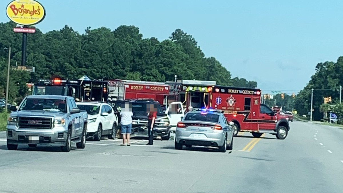 Crews are the scene of a multi-vehicle crash Thursday morning in the Carolina Forest area.