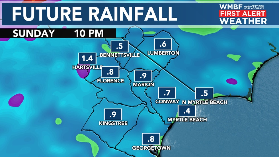 Through Sunday, most locations will pick up on half an inch to an inch of rain.