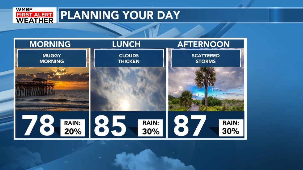 Hot and humid through the morning and into the afternoon with a 30% chance of a shower or storm.