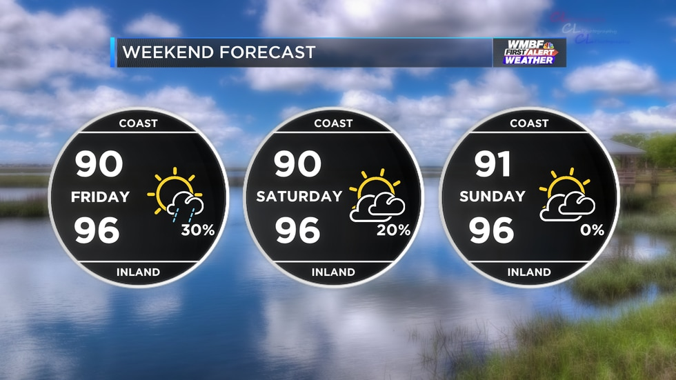 Hot and humid with a few scattered storms early in the weekend.