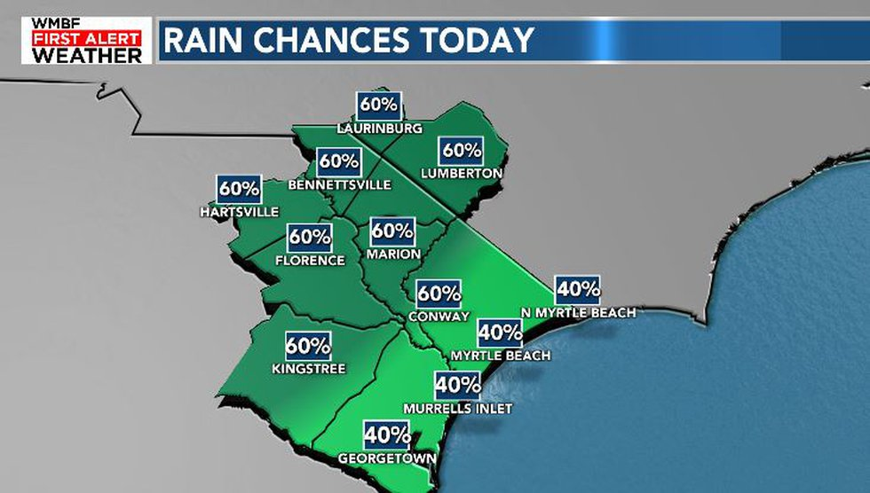 The better chance for rain will take place inland across the Pee Dee.