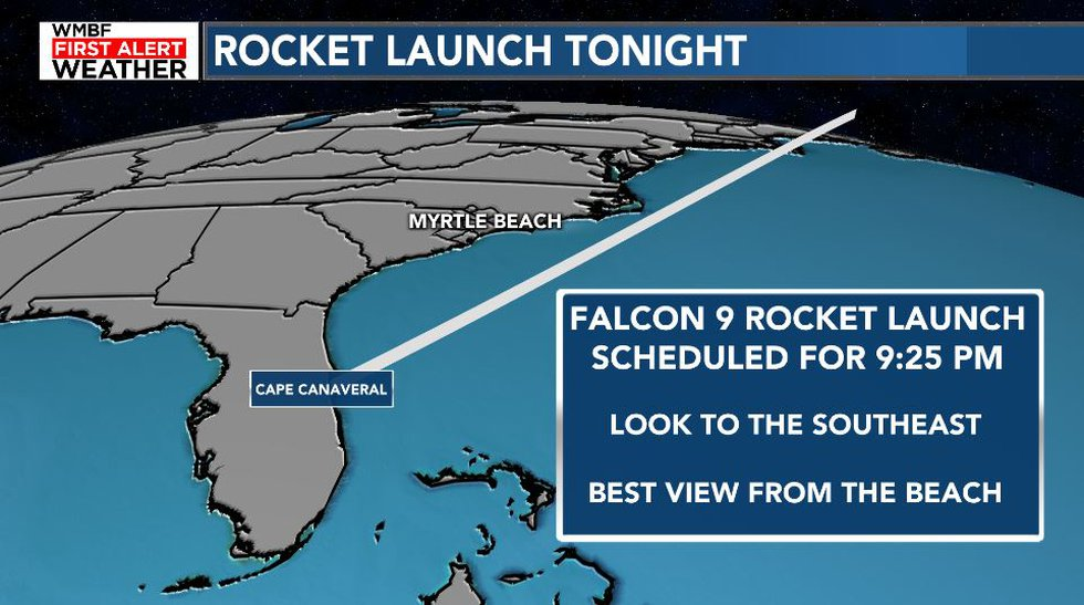 The SpaceX Falcon 9 rocket launch will likely be visible Wednesday evening.
