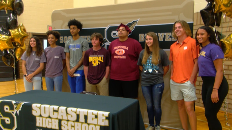 Nine student-athletes from Socastee sign on Thursday
