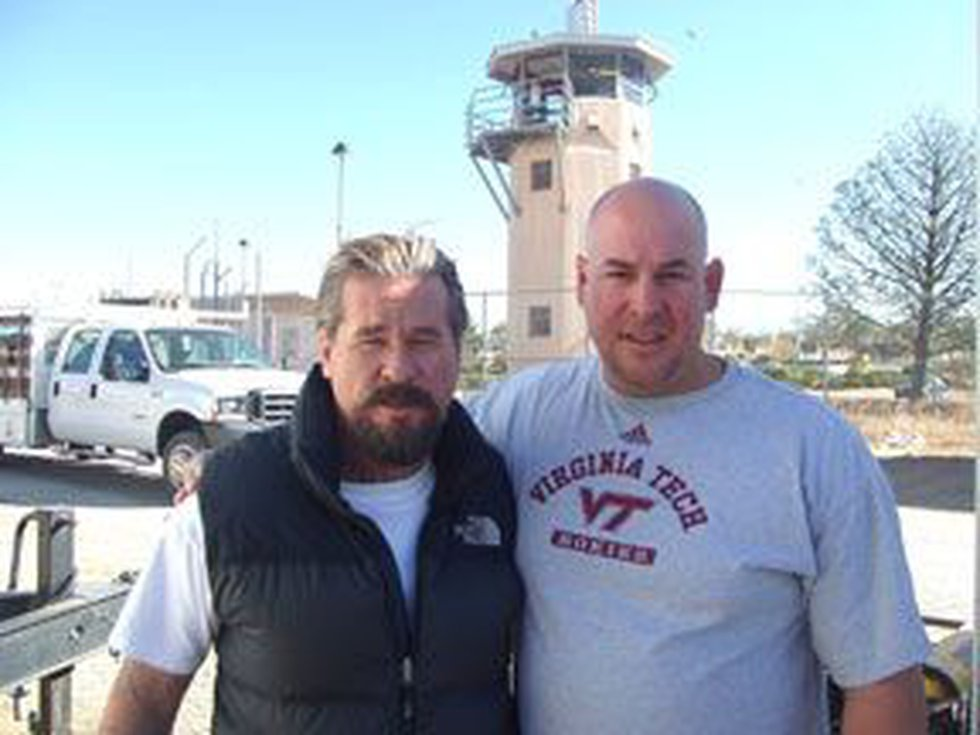 From the set: Val Kilmer (left) and Richard Caruso