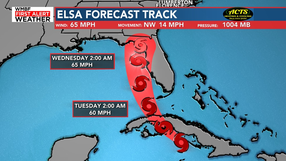 Here's the 5 AM forecast track for Elsa over the next 48 hours.
