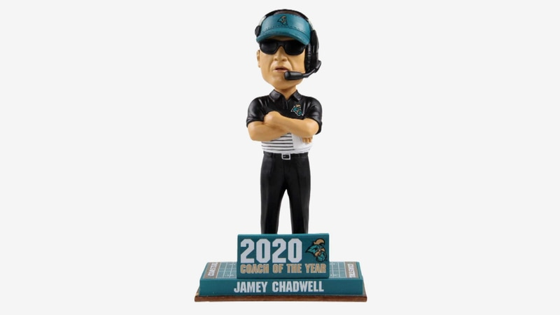 A look at the Jamey Chadwell 'Coach of the Year' bobblehead, made by FOCO.