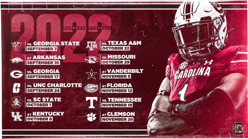 South Carolina releases 2022 football schedule