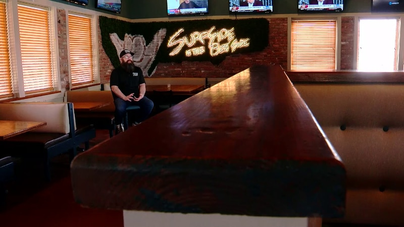 Sections of wood from the old Surfside Beach pier are now being used at the Tavern in Surfside.