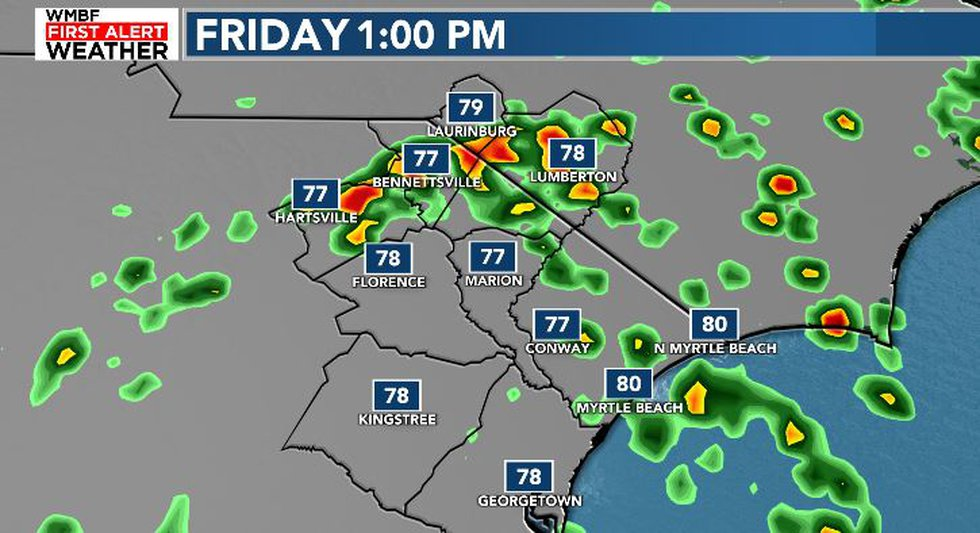 Friday afternoon showers possible mainly inland.