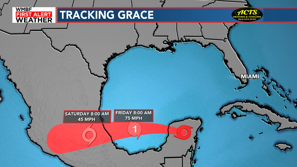 Grace will restrengthen to a hurricane by tomorrow.