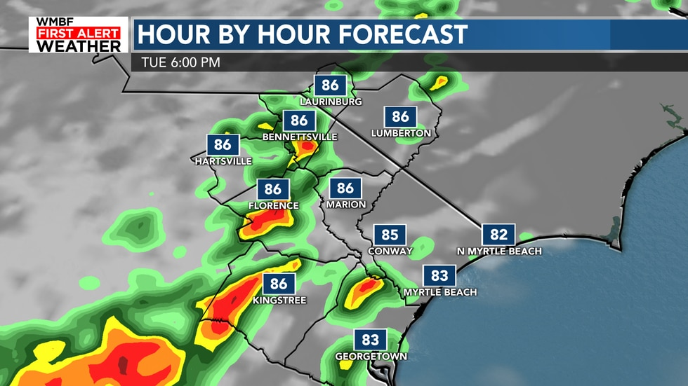 Showers and storms return this afternoon and continue into the evening hours.