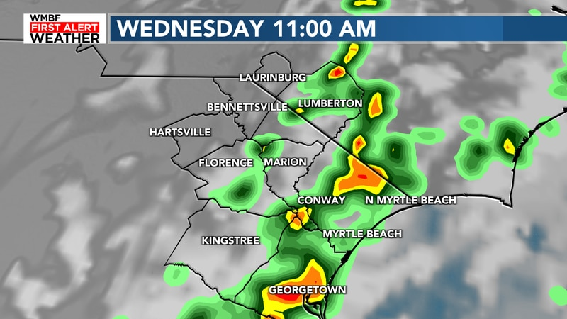 More downpours likely Wednesday
