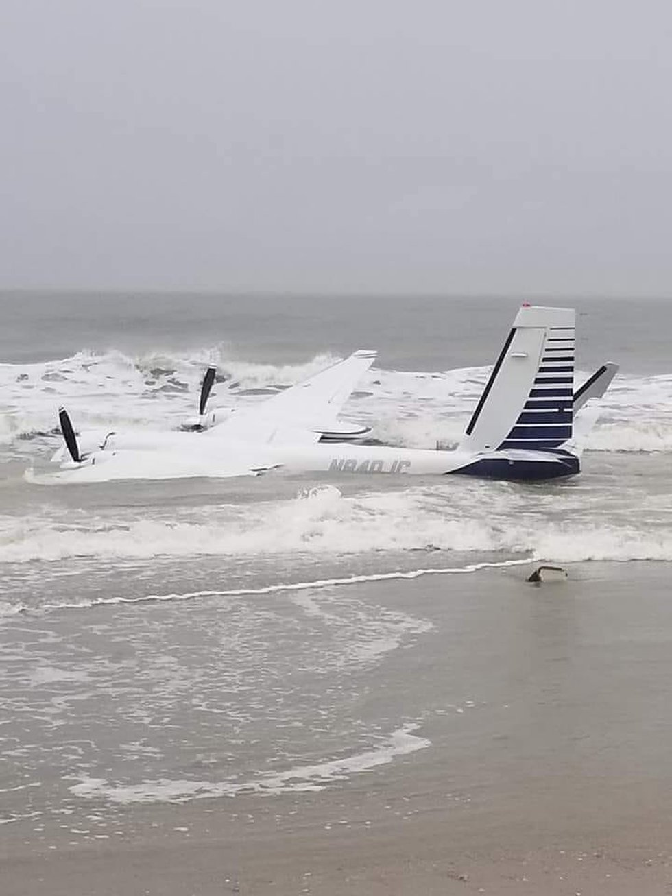 A plane landed in the water Monday near Springmaid Pier in Myrtle Beach. (Source: Dave Crow via...