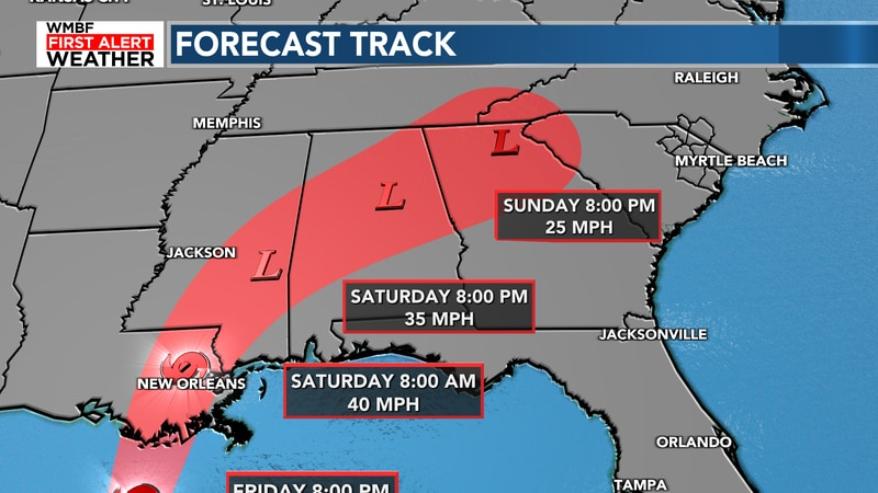 The remenants of the tropical system arrive late this weekend