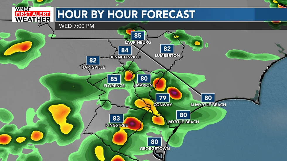 Highs will reach the upper 80s to lower 90s before the storms roll in and cool many of us off...