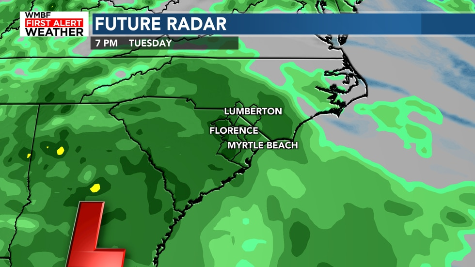The low pressure will bring widespread rain and breezy winds to the area on Tuesday.