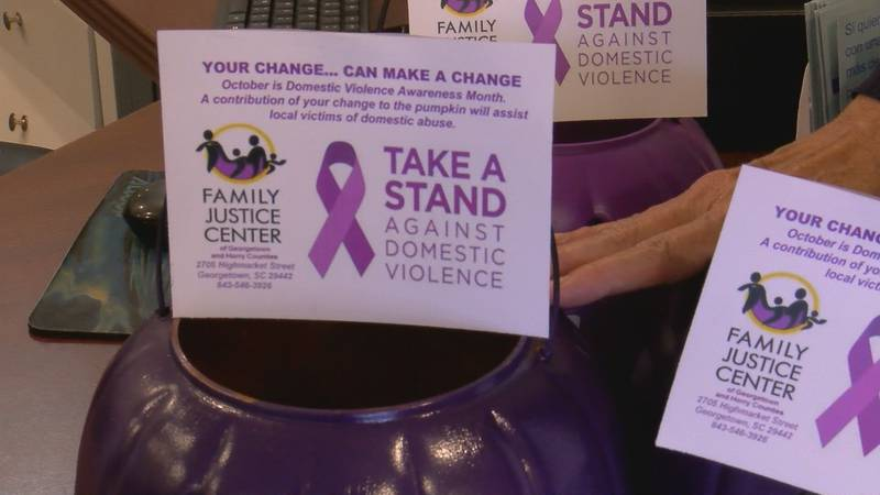 Purple Jack-o-Lanterns will be displayed at local businesses to collect donations for Domestic...