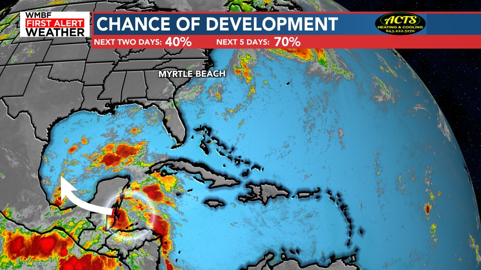 A high chance of development continues to move toward the Gulf of Mexico. We will watch this...