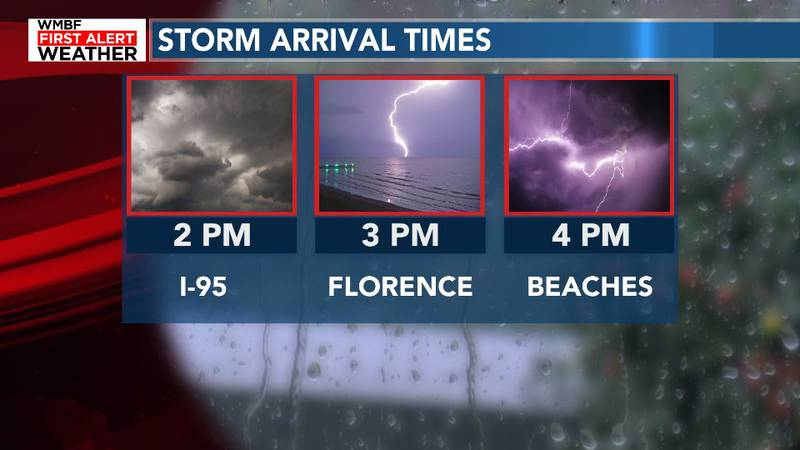Storms will arrive to the Grand Strand by roughly 4pm today.