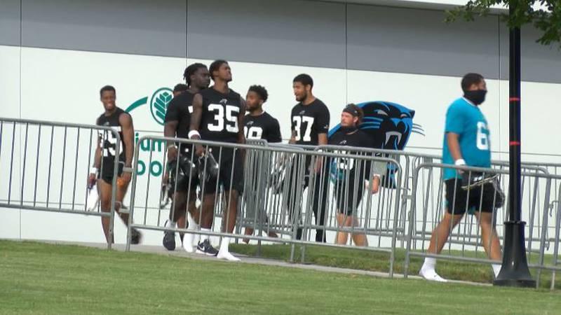 Carolina Panthers rookies leaving a walk thru at training camp