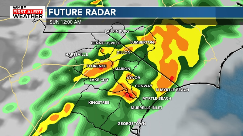 Heavy rain briefly arrives