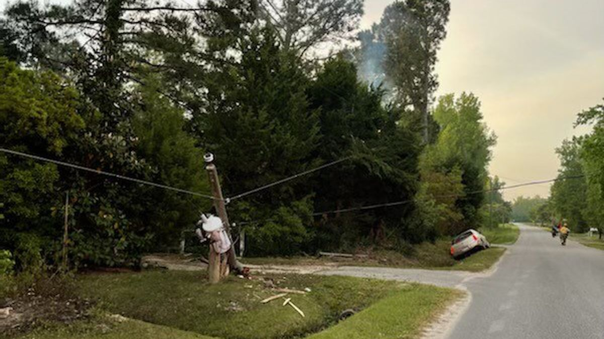 Crews were called after a vehicle crashed into a utility pole early Wednesday morning in Longs.