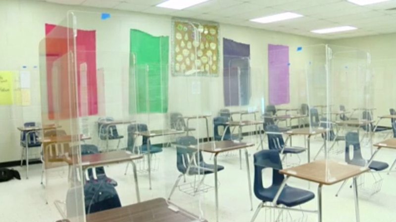 Forestbrook Middle School showed the plexiglass installation in an independent classroom setting.