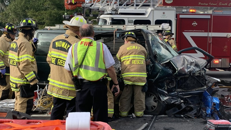 Crews were on the scene of a head-on collision in Pawleys Island on Monday.